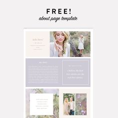 """Just released a brand new Page Template design in the shop. Kate. Get it for FREE using code """"FREEPAGE"""" at checkout.  The page comes as a single Photoshop file for you to edit with your text and images, save and upload onto any page of your website!   Beautiful images courtesy of Kate Anfinson Photography."""