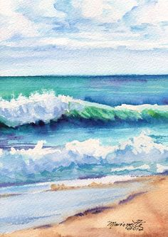 Ocean Waves of Kauai I Original Watercolor Painting from Kauai Hawaii blue aqua turquoise