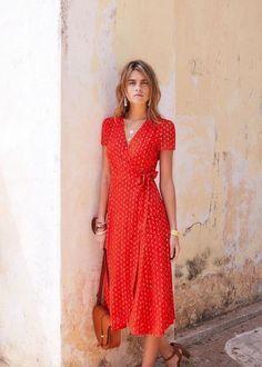 Casual Dresses -Day Dresses T Shirt Dress & Fall Dresses Summer Dress Outfits, Summer Dresses For Women, Dress Summer, Red Dress Casual, Summer Wear, Red Wrap Dress, Red Outfits, Vintage Summer Dresses, Long Summer Dresses Casual