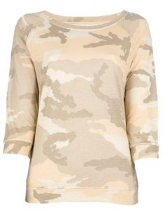 Beige camouflage print top by MAJESTIC #camouflage #militar #army