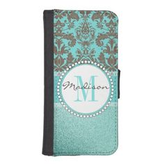 Turquoise Brown Damask  teal turquoise glitter iPhone SE/5/5s Wallet - monogram gifts unique design style monogrammed diy cyo customize