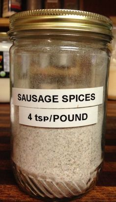 We ate so much sausage, I labeled a jar just for the spices! We ate so much sausage, I labeled a jar just for the spices! Breakfast Sausage Seasoning, Sausage Spices, Homemade Breakfast Sausage, Pork Sausage Seasoning Recipe, Sausage Gravy Mix Recipe, Hamburger Seasoning, Breakfast Sausages, Turkey Breakfast Sausage, Dry Rubs