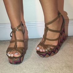Colorful chevron wedges! Perfect for the summer! Great condition!!!! Shoes Wedges