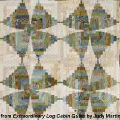 Detail of Mariposa Log Cabin from Judy Martin's book, Extraordinary Log Cabin Quilts. This is an original design. The book shows a variety of wonderful layouts for this.