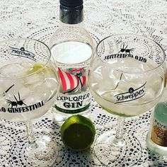 Fewer Tree Tonic. Gin And Tonic, Wine Glass, Alcoholic Drinks, Lime, Tableware, Instagram Posts, Limes, Dinnerware, Tablewares
