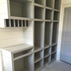 Mail slots and cubbies are a great way to keep the family organized. Storage above small desk bump-out Back Door Entrance, Door Entryway, Entrance Ideas, Built In Desk, Built Ins, Mudroom Laundry Room, Mudroom Organizer, Mail Organization, Organizing