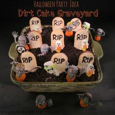 Halloween Party Idea - Dirt Cake Graveyard