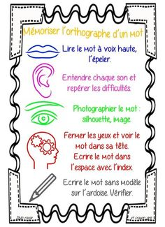 affichage mémoriser des mots French Teaching Resources, Teaching French, Teaching Tools, Teaching Ideas, Word Study, Word Work, Core French, French Classroom, French Immersion
