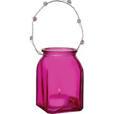 Fuchsia Pink Tansy Hanging Candle Holder and Vase