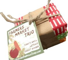 Vegan Mother's Day gifts: Farmers Market Trio Vegan Gourmet Soap #giftsforaveganmom #giftsforveganmoms #vegangiftsforher #giftsforvegangirls #christmasgiftsforvegans #vegangiftsformom #giftsforavegangirlfriend #giftsforvegans