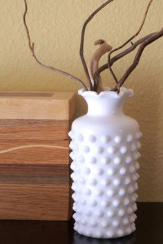 Hobnail Milk Glass Vase ( a large collection of weakness!)