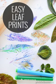 Easy Leaf Printing - quick, easy, low mess, art activity for kids (quick fall crafts for kids) Easy Art Projects, Projects For Kids, Crafts For Kids, Easy Art For Kids, Nature Crafts, Fall Crafts, Summer Crafts, Art Activities For Kids, Nature Activities