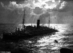 A painting of the sinking of the British ship Athenia, by artist Arthur JW Burgess