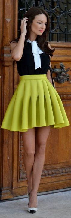 Yellow Perfect Pleats Mini A-skirt by My Silk Fairytale
