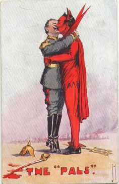 ENGAGED: A World War I propaganda cartoon depicting the Kaiser kissing the devil.
