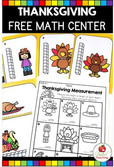 Introduce your students to non-standard measurement with colorful measuring cards that feature turkeys, pumpkin pies, and other Thanksgiving symbols and a worksheet for recording the answers. This FREE Thanksgiving Measurement Math Center is a fun addition to your classroom for the month of November.