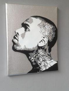 Chris Brown Silver painting,stencils,spray paints on canvas,music,fan art,pop…