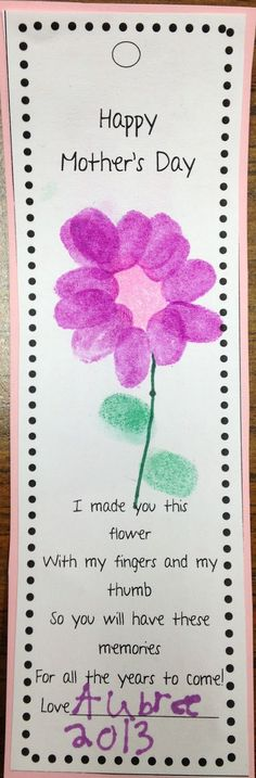 I saw some really cute bookmarks on pinterest and decided to create my own.  The kids use their fingerprints to make a flower for mom.  Then...