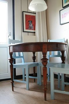 Kitchen table and blue chairs by Solveig Grøvle, via Flickr
