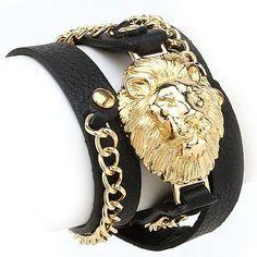 Black Band Gold Lion Bracelet #gold #bracelet www.loveitsomuch.com