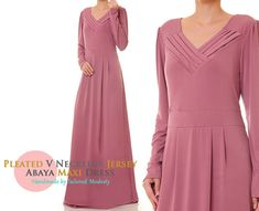 Rose Pink Pleated V Neckline Matte Jersey Long by Tailored2Modesty