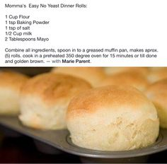 Easy No Yeast Dinner Rolls. Create Perfect Melt In The Mouth Dinner Rolls Cooking with yeast may b No Yeast Dinner Rolls, Dinner Rolls Recipe, My Recipes, Crockpot Recipes, Baking Recipes, Recipies, Favorite Recipes, Bisquick Recipes, Quick Bread Recipes