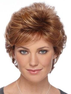 Browse our Short Wigs for women. Short wigs above the shoulder to bobs and boys cuts in straight, wavy to curly styles. Mom Hairstyles, Feathered Hairstyles, Short Hairstyles For Women, Hairstyles Pictures, Hairstyle Ideas, Style Hairstyle, Hairstyles For Over 50, Hairstyle Images, Perfect Hairstyle