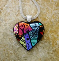 Picasso Heart Pendant Valentine Jewelry Fused Glass by GlassCat
