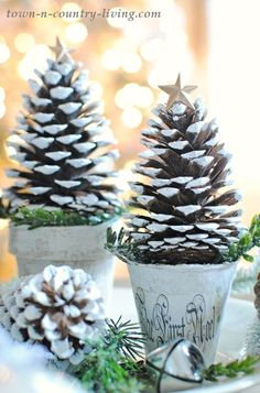 Pine Cone Christmas Trees Pine Cone Christmas Trees are fun and easy to make. They create a pretty holiday vignette in your home or on your dining table. Pine Cone Christmas Tree, Noel Christmas, Christmas Crafts For Kids, Homemade Christmas, Rustic Christmas, Christmas Projects, Winter Christmas, Holiday Crafts, Christmas Wreaths