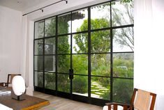 Double steel/glass doors with Fixed Sidelites and Transom