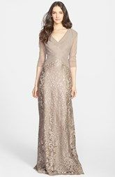 Tadashi Shoji Sequin Lace Gown (Regular & Petite) Very classy.  Not sure about color.  They have in blue too.