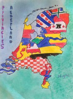Zelf getekende + ingekleurde Provincie vlaggen van Nederland.