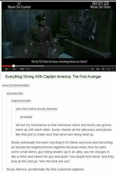 Vigilantes typically kill the bad guys, Bucky just scares them, maybe fights them if it comes to that. What about hero instead of vigilante? Seems more fitting Avengers Memes, Marvel Memes, Marvel Dc Comics, Marvel Avengers, Bucky And Steve, Fandoms, Dc Memes, Pokemon, Stucky