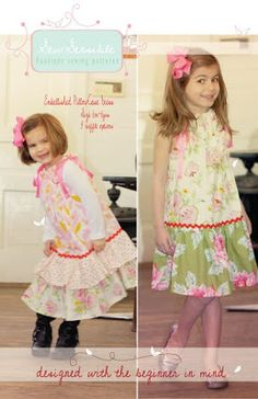 Children's Boutique Sewing Patterns: Twirl SKORT, Hope Joy Bubble Top, Embellished Pillowcase Dress Sewing Patterns!