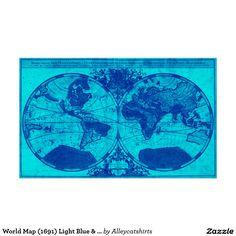 World map 1691 black light blue poster blue poster and black world map 1691 light blue blue poster gumiabroncs Gallery