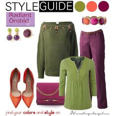 Radiant Orchid for Warm Autumn by thirtysomethingurbangirl on Polyvore | #WarmAutumn #AutumnSpring #RadiantOrchid #cosyoutfit #outfitidea #warmcolors #olive #orange