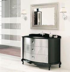 Mueble de baño 3 cajones Roma negro y plata