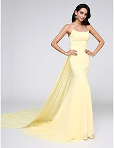 TS Couture® Formal Evening Dress Trumpet / Mermaid Strapless Watteau Train Chiffon with – USD $ 132.99