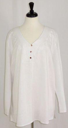 Cynthia Rowley Linen Blend V-Neck Tunic Top Shirt Long Sleeve White 2X #CynthiaRowley #Tunic #Casual