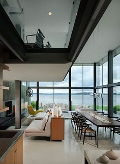 Seattle-based studio E. Cobb Architects has designed the Graham Residence. Located in Mercer Island, Washington, this amazing contemporary house was completed in Interior Modern, Best Interior Design, Interior Decorating, Modern Lake House, Modern Lodge, Dream Decor, Interiores Design, My Dream Home, Interior Architecture