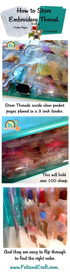 """Store Embroidery thread in 3"""" binder and pocket pages. Easy to see and stores on a shelf."""