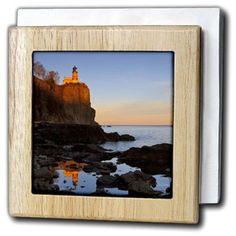 3dRose Split Rock Lighthouse, Two Harbors, Minnesota - US24 CHA0071 - Chuck Haney, Tile Napkin Holder, 6-inch