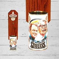 Wall Mounted Bottle Opener with Vintage Iron City Pittsburgh Steelers Rooney  Knoll Beer Can Cap Catcher ** Check out the image by visiting the link.