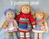 Lucy Lavender, Tilly, and Lulu - 3 pattern deal - doll knitting pattern - INSTANT DOWNLOAD - PDF email knitting pattern - ePattern