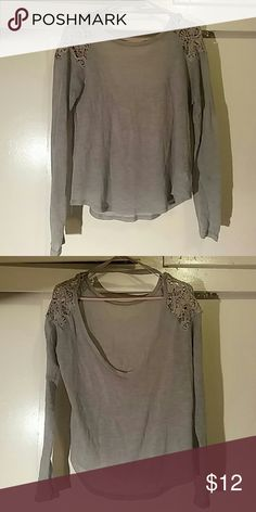 Crochet Shoulder Scoop Back Top Gray long sleeve by Cotton Candy with crochet detailing at the shoulders and a scoop back. Size: L. Cotton Candy Tops