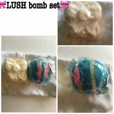 LUSH bomb 2 pc set Includes: SOLD OUT Golden Wonder and the newly released Intergalactic. Selling as a set to get ready for Valentines Day. Intergalactic has a crack from the cooling process. Does not affect integrity of the item. Lush Makeup