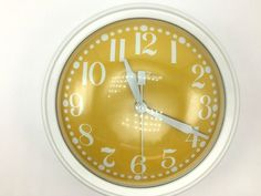 Vintage Seth Thomas Wall Clock yellow vintage corded clock mid century modern Model 2137-000 Name BREEZE Great Condition midcentury
