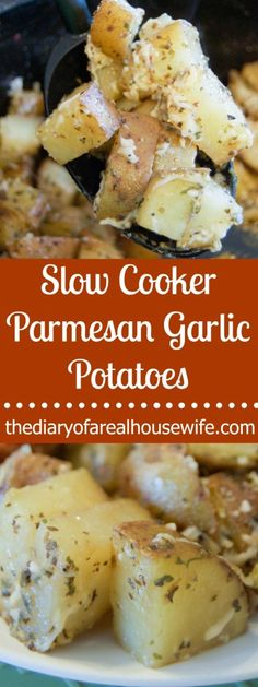Slow Cooker Parmesan Garlic Potatoes. Simple to make and something your family is going to love. I love slow cooker side dishes. Makes dinner easy!