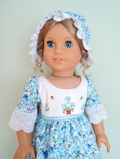 """Elizabeth's """"Bluebonnet Beauty"""" Colonial Spring Gown and Cap featuring Texas bluebonnets & tea towel bodice: also for Felicity"""