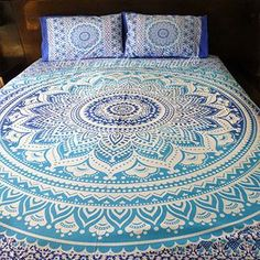 Ombre boho duvet cover, doona cover, bed comforter cover bedding, indian mandala tapestry bed set, indian sheet and matching pillowcases,…